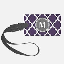 Purple & Gray Quatrefoil Monogra Luggage Tag