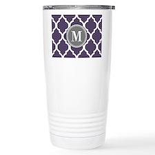 Purple & Gray Quatrefoi Travel Mug