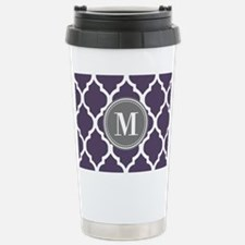 Purple & Gray Quatrefoi Travel Mug