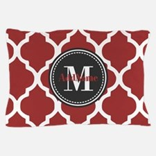 Red Quatrefoil Monogram Pillow Case
