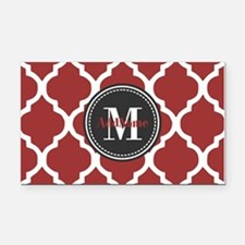 Red Quatrefoil Monogram Rectangle Car Magnet