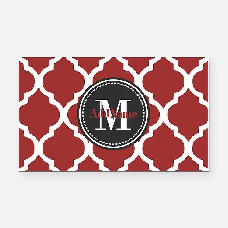 Red Quatrefoil Monogram Rectangle Car Magnet