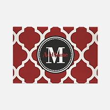 Red Quatrefoil Monogram Rectangle Magnet