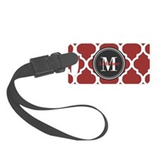 Red Quatrefoil Monogram Luggage Tag