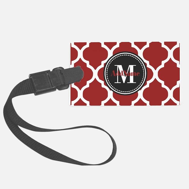 Red Quatrefoil Monogram Luggage Tag