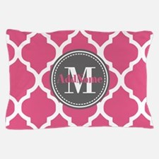 Pink Quatrefoil Monogram Pillow Case