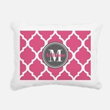 Pink Quatrefoil Monogram Rectangular Canvas Pillow