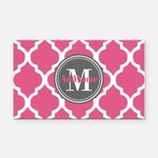 Pink Quatrefoil Monogram Rectangle Car Magnet