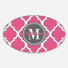 Pink Quatrefoil Monogram Decal