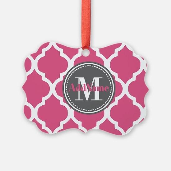 Pink Quatrefoil Monogram Ornament