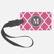 Pink Quatrefoil Monogram Luggage Tag