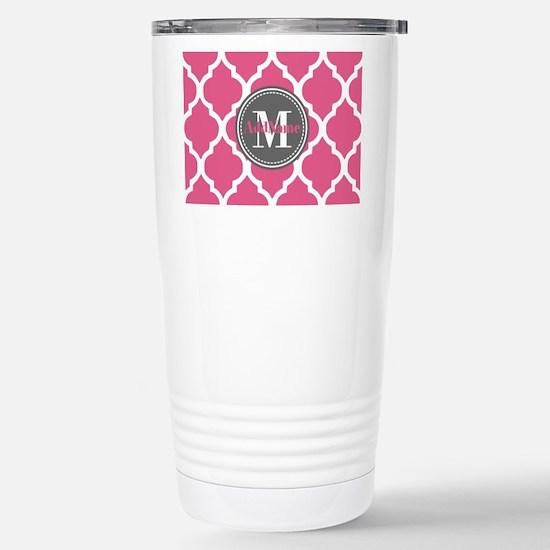Pink Quatrefoil Monogra Stainless Steel Travel Mug