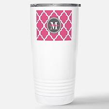 Pink Quatrefoil Monogra Travel Mug