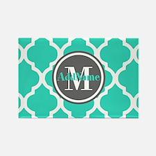 Teal Gray Quatrefoil Pattern Mono Rectangle Magnet