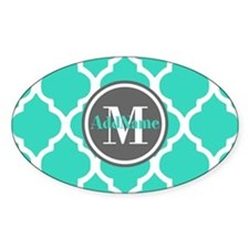 Teal Gray Quatrefoil Pattern Monogr Decal