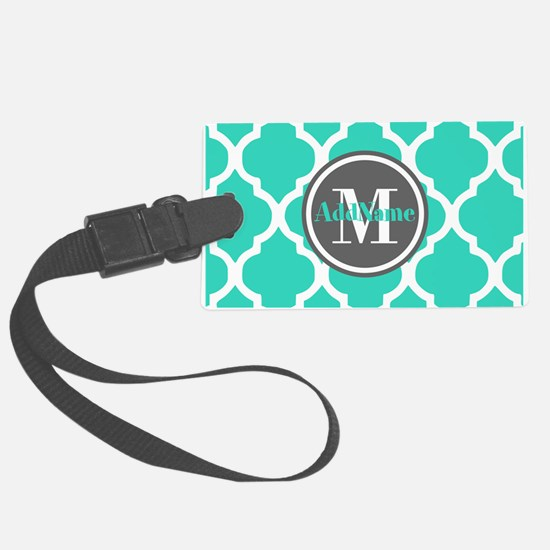 Teal Gray Quatrefoil Pattern Mon Luggage Tag