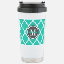 Teal Gray Quatrefoil Pa Stainless Steel Travel Mug
