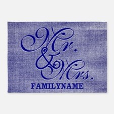 Blue Linen Personalized Mr. and Mrs 5'x7'Area Rug