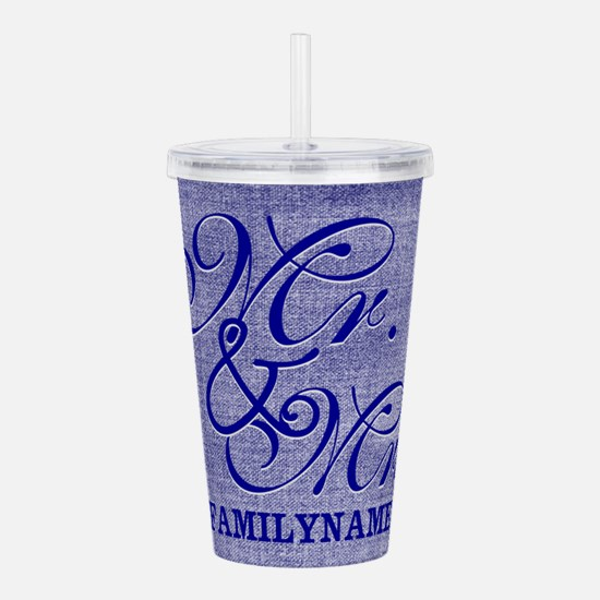 Blue Linen Personalize Acrylic Double-wall Tumbler
