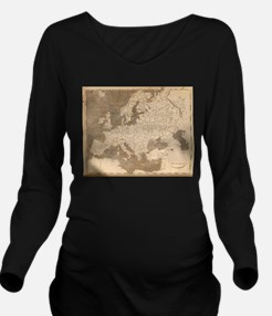 Vintage Map of Europ Long Sleeve Maternity T-Shirt