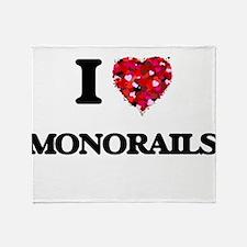 I Love Monorails Throw Blanket