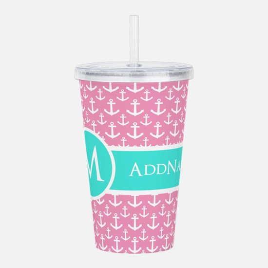 Aqua Pink Anchor Patte Acrylic Double-wall Tumbler