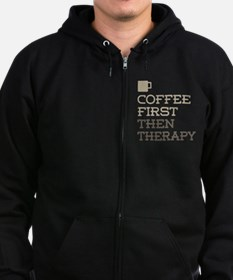 Coffee Then Therapy Zip Hoodie (dark)