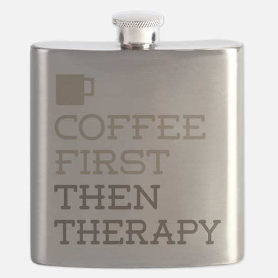 Coffee Then Therapy Flask