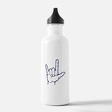 Dark Blue I Love You Water Bottle