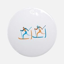 Snow Ski Ornament (Round)