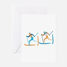 Snow Ski Greeting Cards