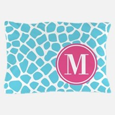 Aqua Pink Animal Print Monogram Pillow Case