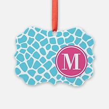 Aqua Pink Animal Print Monogram Ornament