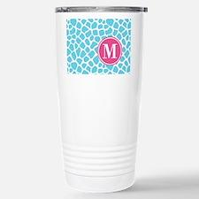 Aqua Pink Animal Print Travel Mug