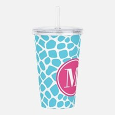 Aqua Pink Animal Print Acrylic Double-wall Tumbler
