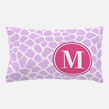 Chic Purple Giraffe Print With Monogra Pillow Case