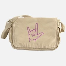 Purple I Love You Messenger Bag