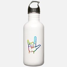 Rainbow Burst I Love Y Water Bottle