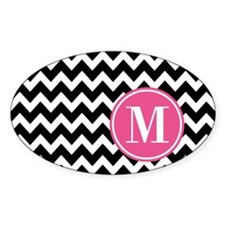 Black White Chevron Bright Pink Mon Decal