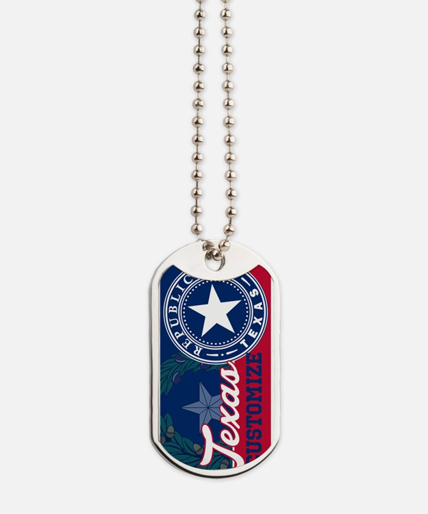 Personalized Texas Flag Seal Dog Tags