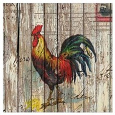 rustic farm country rooster Framed Print