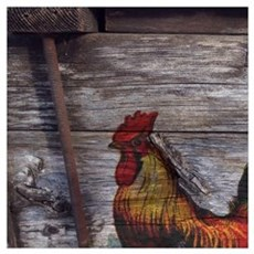 rustic farm country rooster Canvas Art