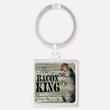 funny pig bacon king Square Keychain