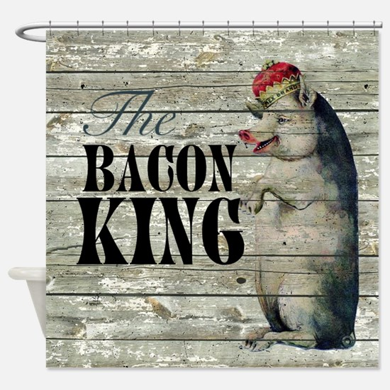 funny pig bacon king Shower Curtain