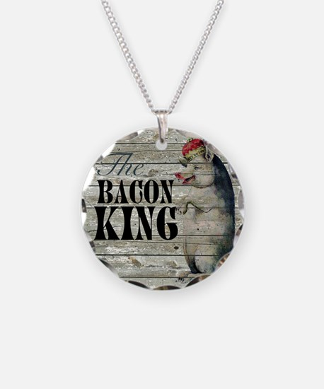 funny pig bacon king Necklace