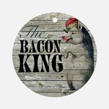 funny pig bacon king Round Ornament