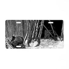 Winter Farm Chores Aluminum License Plate