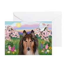 Blossoms - Collie (H) Greeting Cards (Pk of 10)