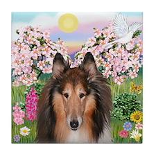 Blossoms - Collie (H) Tile Coaster