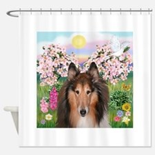 Blossoms - Collie (H) Shower Curtain